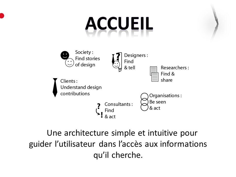 Une architecture simple et intuitive pour guider lutilisateur dans laccès aux informations quil cherche.
