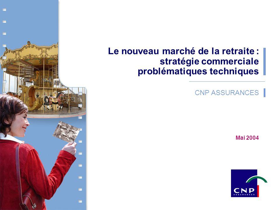 1 CNP Assurances - Mai 2004 CNP ASSURANCES Le nouveau marché de la retraite : stratégie commerciale problématiques techniques Mai 2004