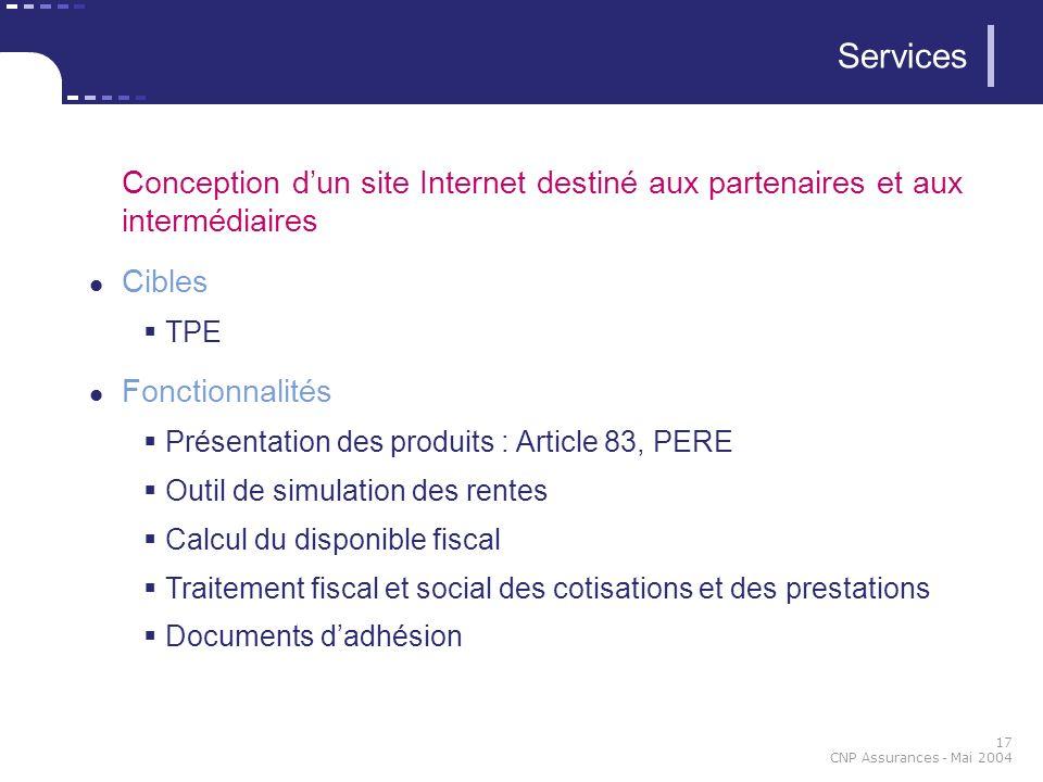 17 CNP Assurances - Mai 2004 Services Conception dun site Internet destiné aux partenaires et aux intermédiaires Cibles TPE Fonctionnalités Présentati