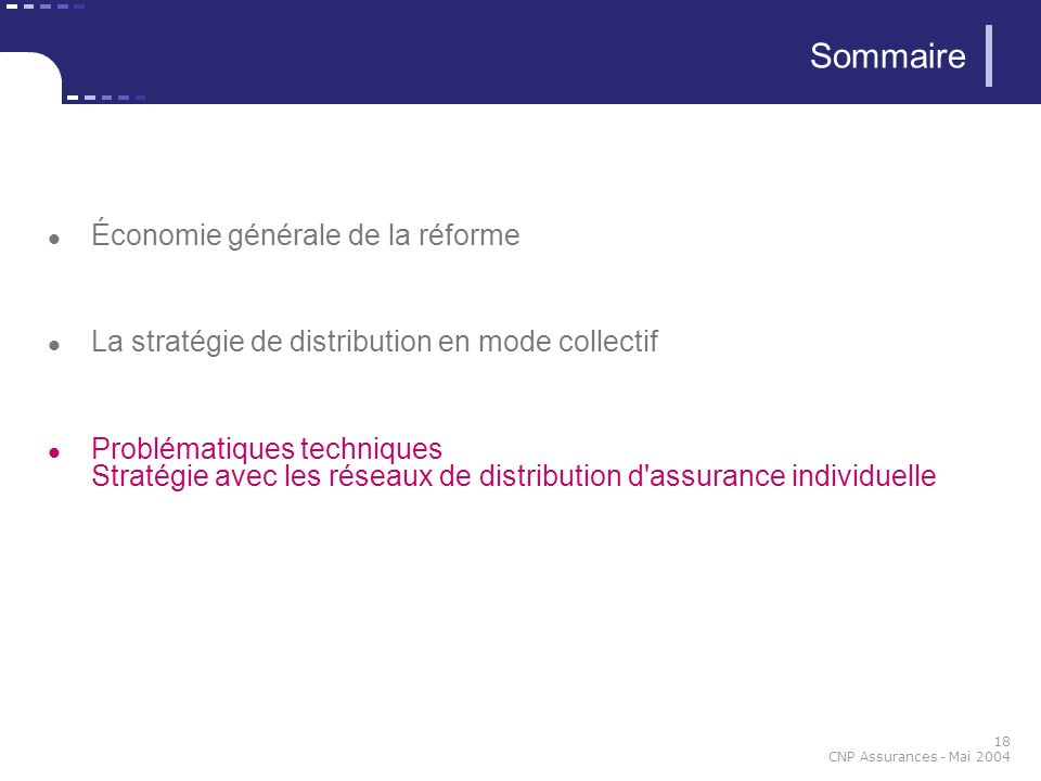 18 CNP Assurances - Mai 2004 Économie générale de la réforme La stratégie de distribution en mode collectif Problématiques techniques Stratégie avec l