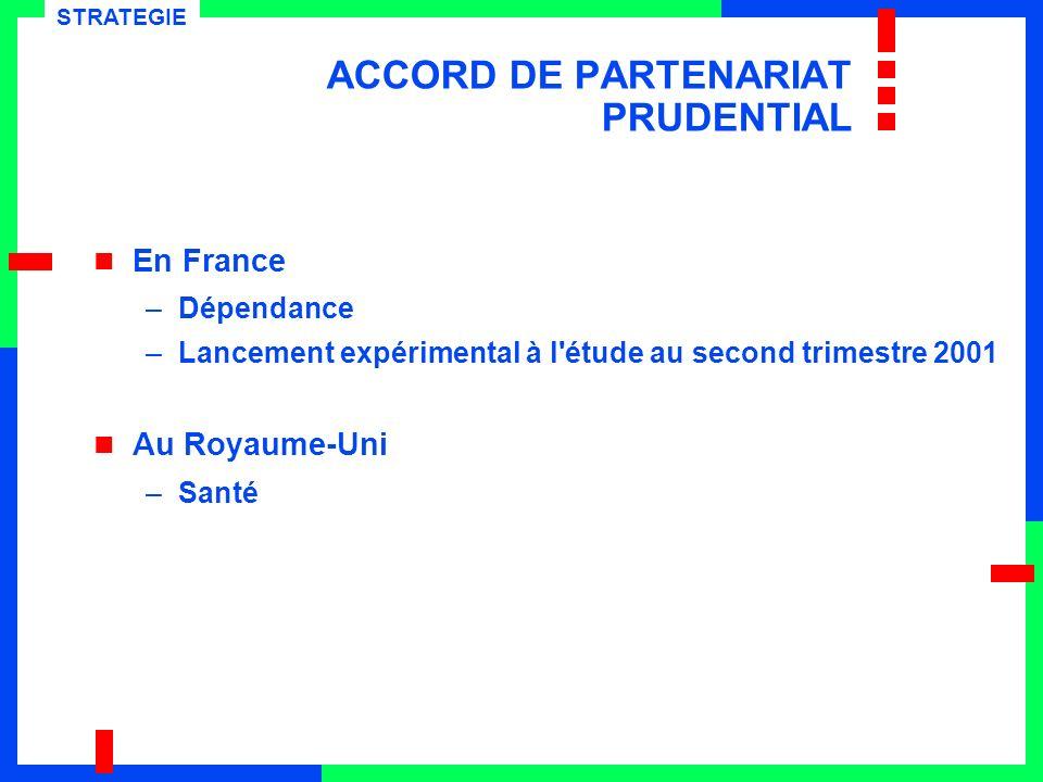 En France –Dépendance –Lancement expérimental à l étude au second trimestre 2001 Au Royaume-Uni –Santé STRATEGIE ACCORD DE PARTENARIAT PRUDENTIAL