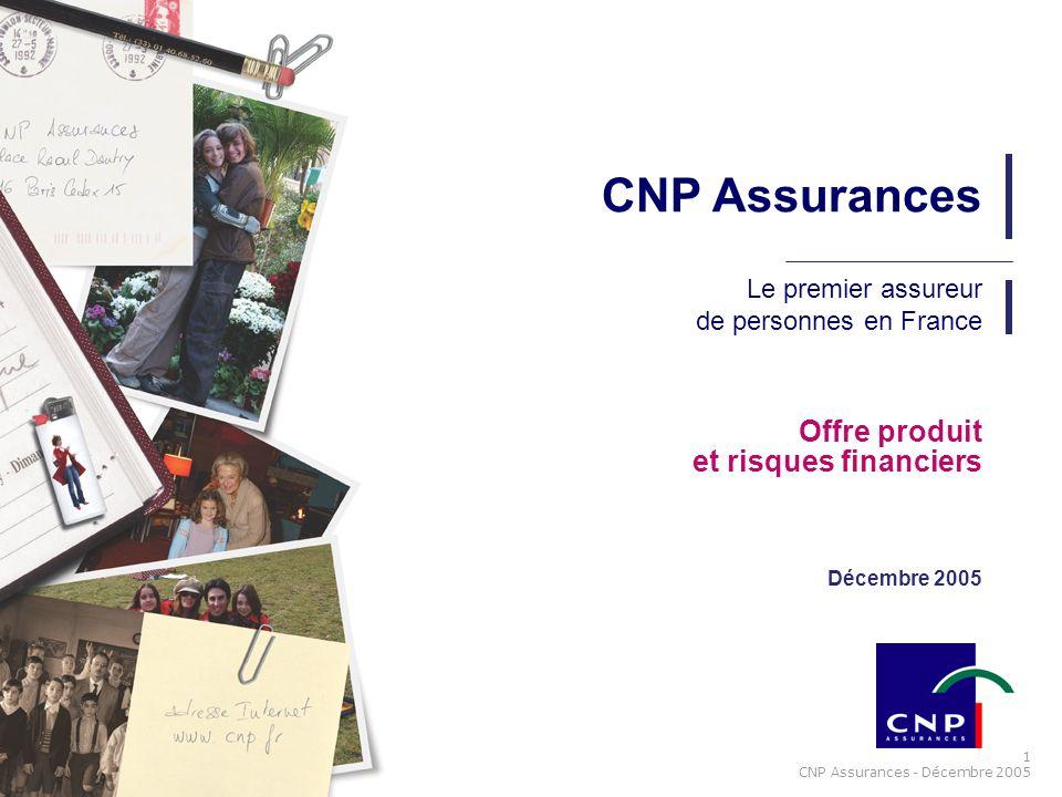 1 CNP Assurances - Décembre 2005 Offre produit et risques financiers Décembre 2005 CNP Assurances Le premier assureur de personnes en France