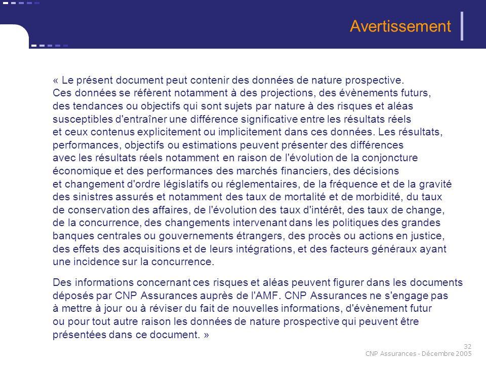 32 CNP Assurances - Décembre 2005 Avertissement « Le présent document peut contenir des données de nature prospective. Ces données se réfèrent notamme