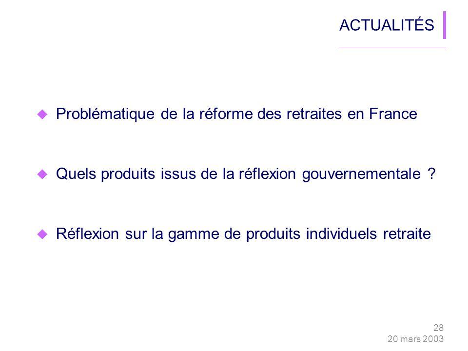 28 20 mars 2003 ACTUALITÉS Problématique de la réforme des retraites en France Quels produits issus de la réflexion gouvernementale .