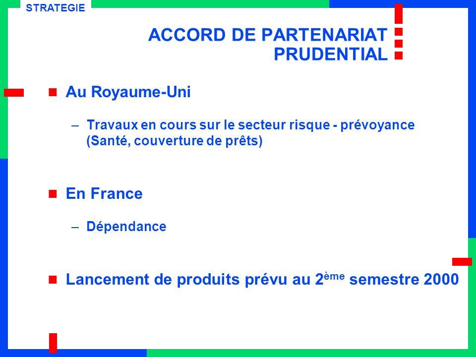 ACCORD DE PARTENARIAT PRUDENTIAL Au Royaume-Uni –Travaux en cours sur le secteur risque - prévoyance (Santé, couverture de prêts) En France –Dépendanc