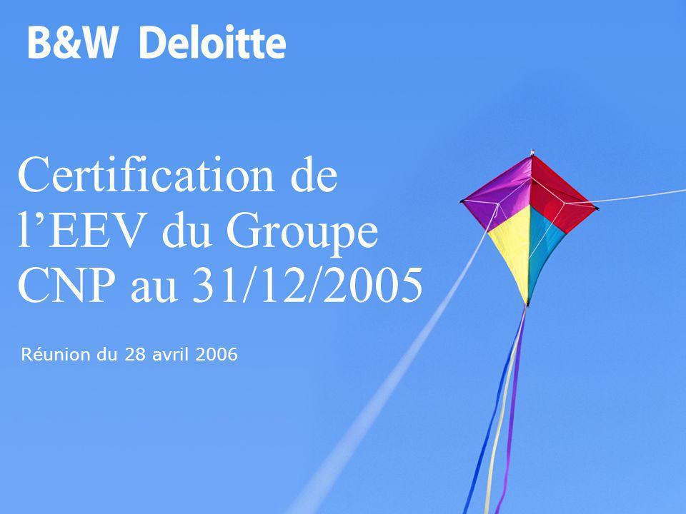 Certification de lEEV du Groupe CNP au 31/12/2005 Réunion du 28 avril 2006