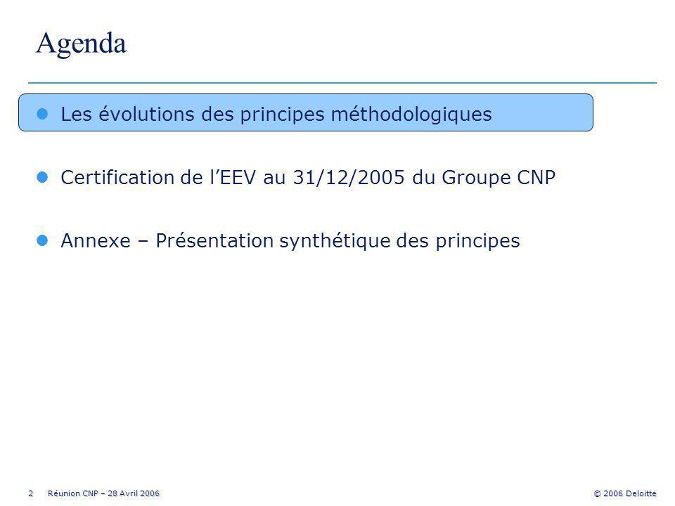 2 Réunion CNP – 28 Avril 2006 © 2006 Deloitte Agenda lLes évolutions des principes méthodologiques lCertification de lEEV au 31/12/2005 du Groupe CNP lAnnexe – Présentation synthétique des principes