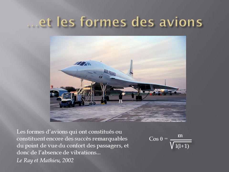 Les formes davions qui ont constitués ou constituent encore des succès remarquables du point de vue du confort des passagers, et donc de labsence de vibrations...