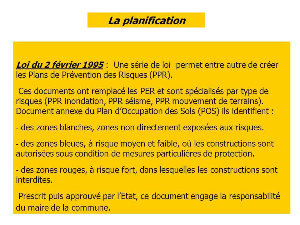 La planification Loi du 2 février 1995 : Une série de loi permet entre autre de créer les Plans de Prévention des Risques (PPR).
