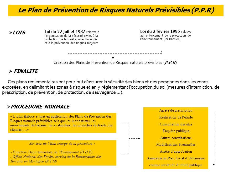 Le Plan de Prévention de Risques Naturels Prévisibles (P.P.R) Loi du 22 juillet 1987 relative à lorganisation de la sécurité civile, à la protection de la forêt contre lincendie et à la prévention des risques majeurs Loi du 2 février 1995 relative au renforcement de la protection de lenvironnement (loi Barnier) Création des Plans de Prévention de Risques naturels prévisibles (P.P.R) FINALITE Ces plans réglementaires ont pour but dassurer la sécurité des biens et des personnes dans les zones exposées, en délimitant les zones à risque et en y réglementant loccupation du sol (mesures dinterdiction, de prescription, de prévention, de protection, de sauvegarde …).