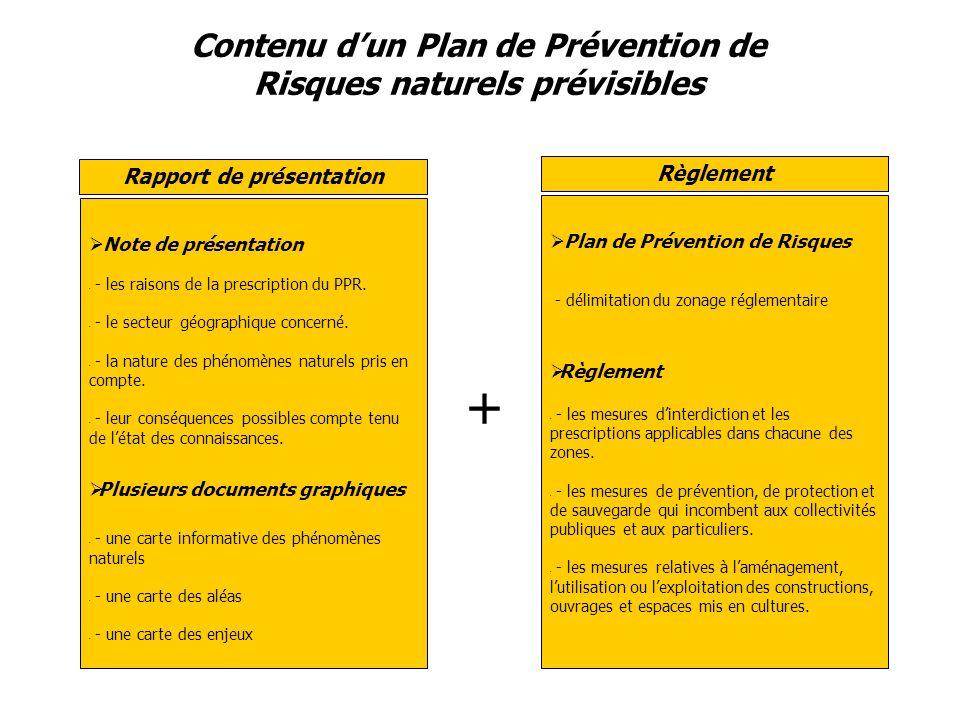 Contenu dun Plan de Prévention de Risques naturels prévisibles Note de présentation - - les raisons de la prescription du PPR.