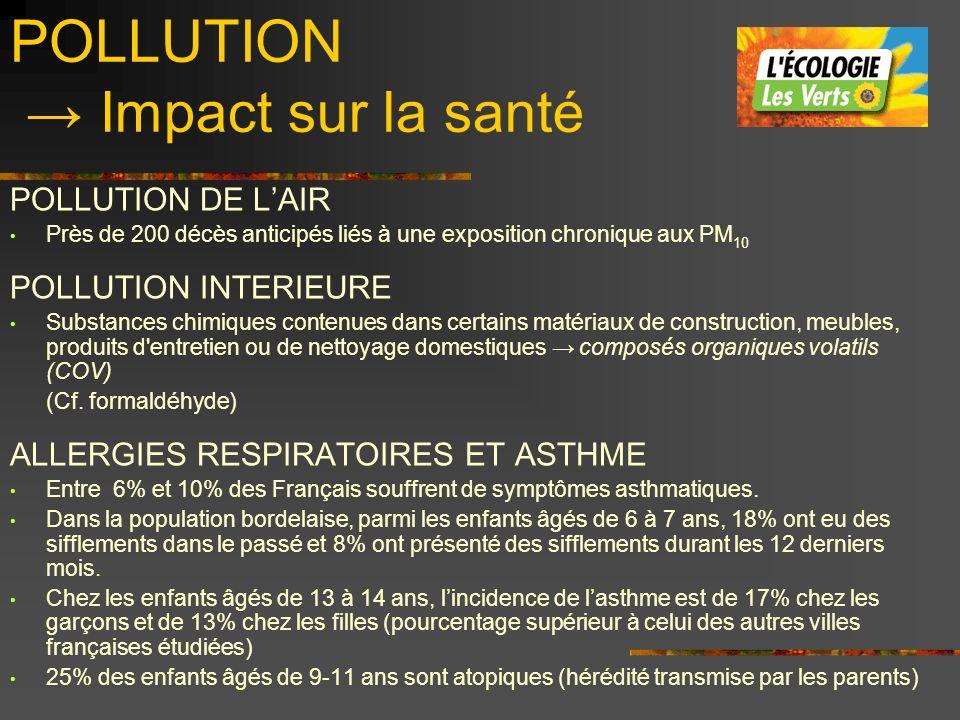 POLLUTION Impact sur la santé POLLUTION DE LAIR Près de 200 décès anticipés liés à une exposition chronique aux PM 10 POLLUTION INTERIEURE Substances