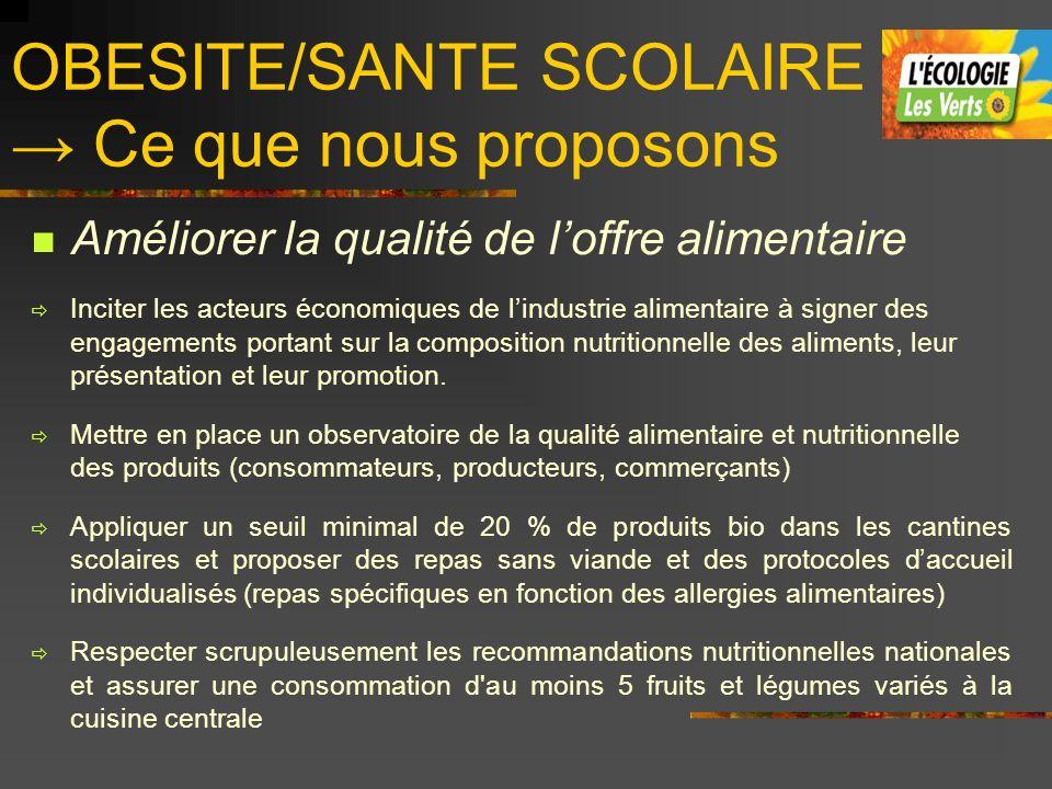 OBESITE/SANTE SCOLAIRE Ce que nous proposons Améliorer la qualité de loffre alimentaire Inciter les acteurs économiques de lindustrie alimentaire à si