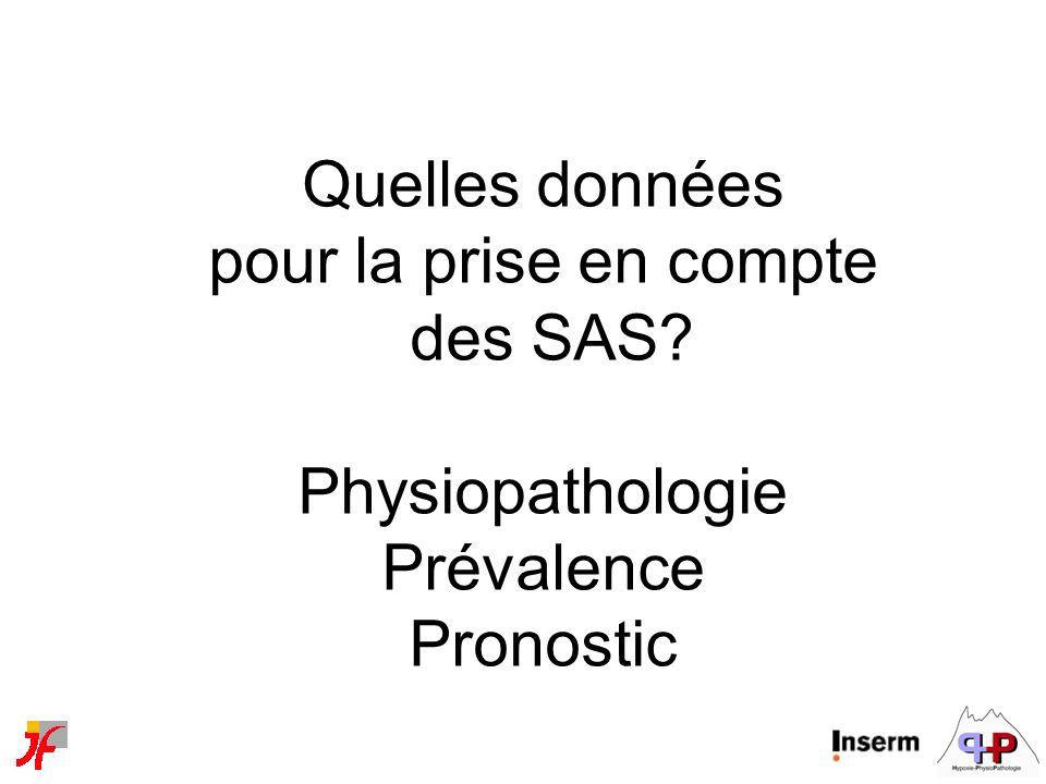 Quelles données pour la prise en compte des SAS? Physiopathologie Prévalence Pronostic
