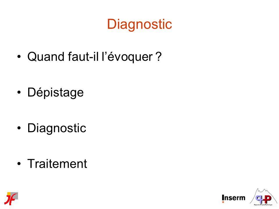 Diagnostic Quand faut-il lévoquer ? Dépistage Diagnostic Traitement