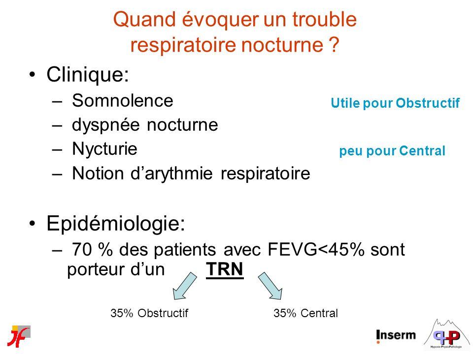 Quand évoquer un trouble respiratoire nocturne ? Clinique: – Somnolence – dyspnée nocturne – Nycturie – Notion darythmie respiratoire Epidémiologie: –