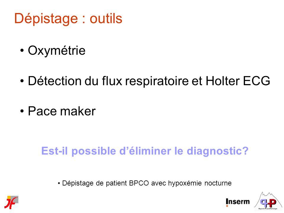 Dépistage : outils Oxymétrie Détection du flux respiratoire et Holter ECG Pace maker Est-il possible déliminer le diagnostic? Dépistage de patient BPC