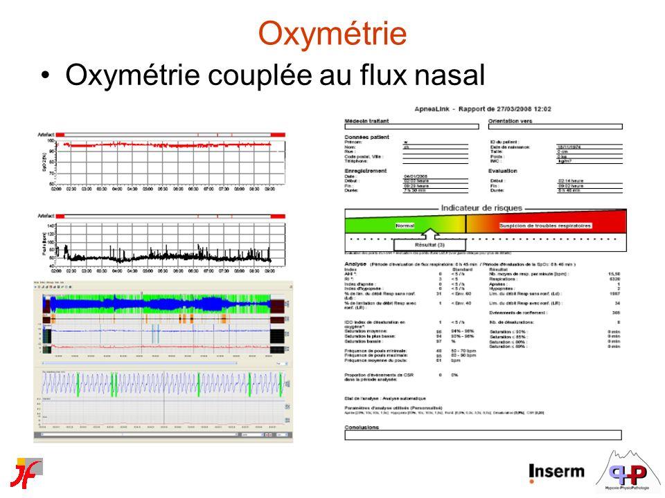 Oxymétrie Oxymétrie couplée au flux nasal