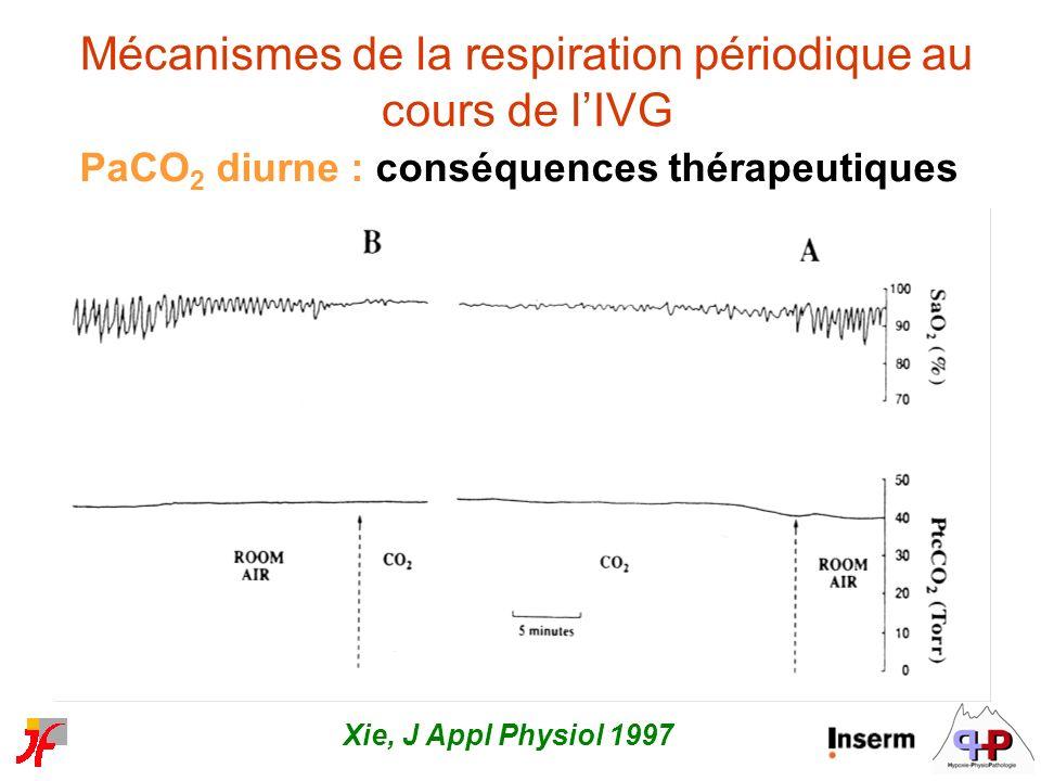 Mécanismes de la respiration périodique au cours de lIVG PaCO 2 diurne : conséquences thérapeutiques Xie, J Appl Physiol 1997
