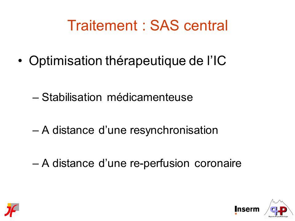 Traitement : SAS central Optimisation thérapeutique de lIC –Stabilisation médicamenteuse –A distance dune resynchronisation –A distance dune re-perfus