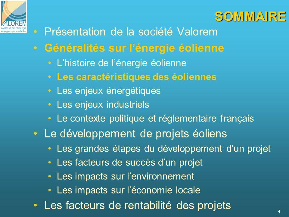 4 SOMMAIRE Présentation de la société Valorem Généralités sur lénergie éolienne Lhistoire de lénergie éolienne Les caractéristiques des éoliennes Les