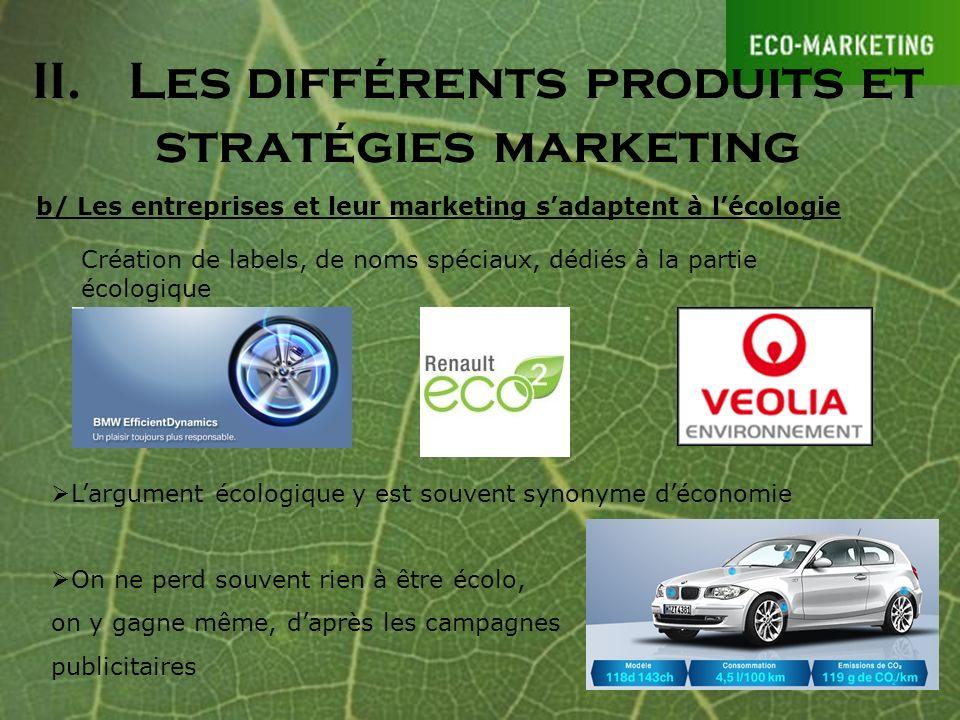 II.Les différents produits et stratégies marketing b/ Les entreprises et leur marketing sadaptent à lécologie Création de labels, de noms spéciaux, dé