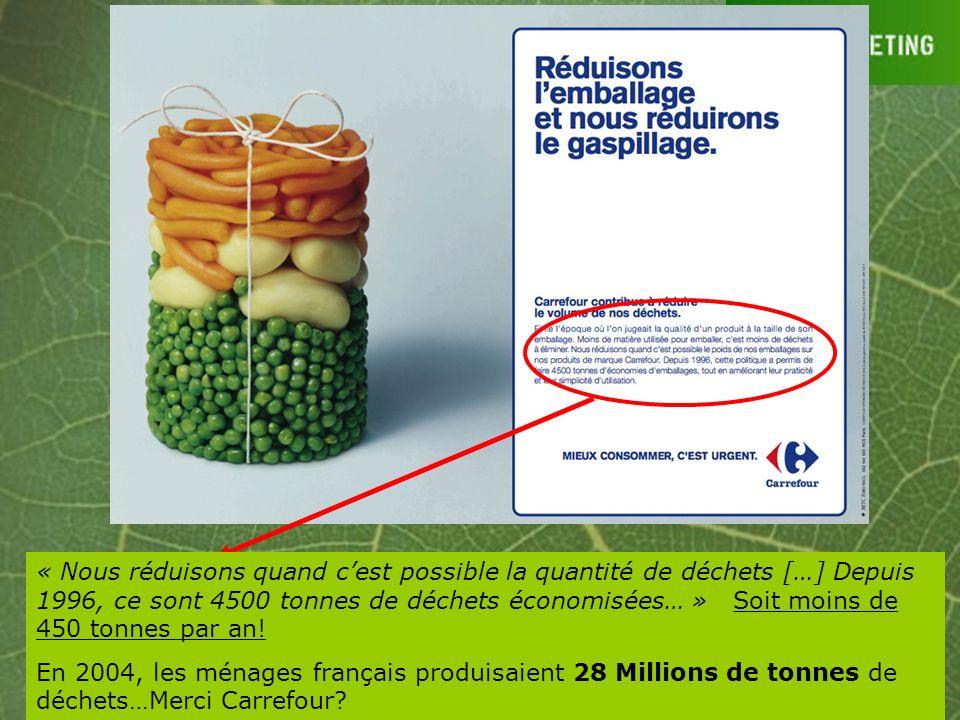 « Nous réduisons quand cest possible la quantité de déchets […] Depuis 1996, ce sont 4500 tonnes de déchets économisées… » Soit moins de 450 tonnes pa