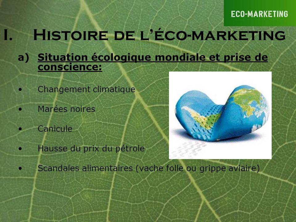 I.Histoire de léco-marketing a)Situation écologique mondiale et prise de conscience: Changement climatique Marées noires Canicule Hausse du prix du pé