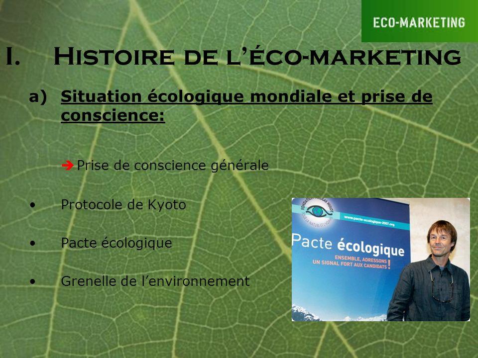 I.Histoire de léco-marketing a)Situation écologique mondiale et prise de conscience: Prise de conscience générale Protocole de Kyoto Pacte écologique