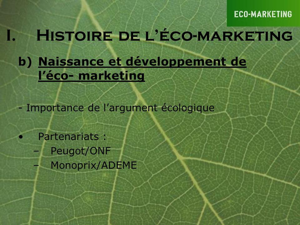 b)Naissance et développement de léco- marketing - Importance de largument écologique Partenariats : –Peugot/ONF –Monoprix/ADEME I.Histoire de léco-mar