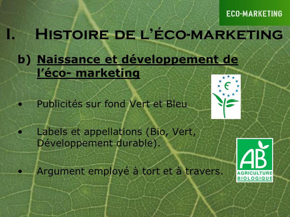 b)Naissance et développement de léco- marketing Publicités sur fond Vert et Bleu Labels et appellations (Bio, Vert, Développement durable). Argument e