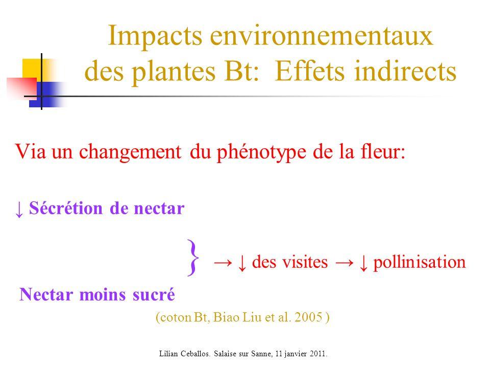 Impacts environnementaux des plantes Bt: Effets indirects Via un changement du phénotype de la fleur: Sécrétion de nectar } des visites pollinisation Nectar moins sucré (coton Bt, Biao Liu et al.