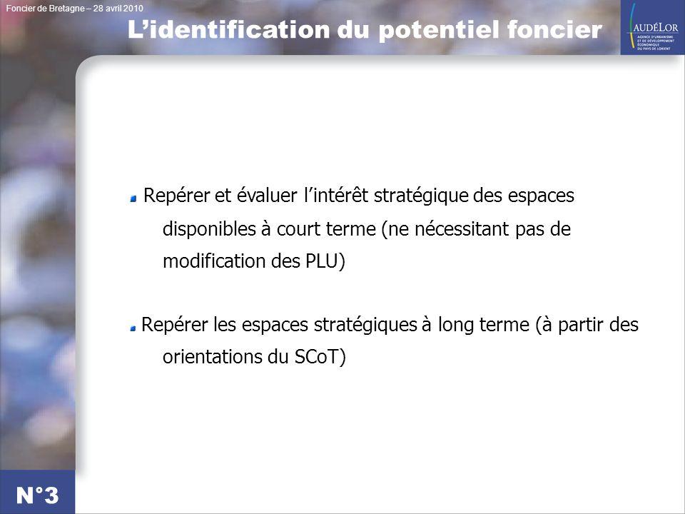 Foncier de Bretagne – 28 avril 2010 N°3 Repérer et évaluer lintérêt stratégique des espaces disponibles à court terme (ne nécessitant pas de modification des PLU) Repérer les espaces stratégiques à long terme (à partir des orientations du SCoT) Lidentification du potentiel foncier
