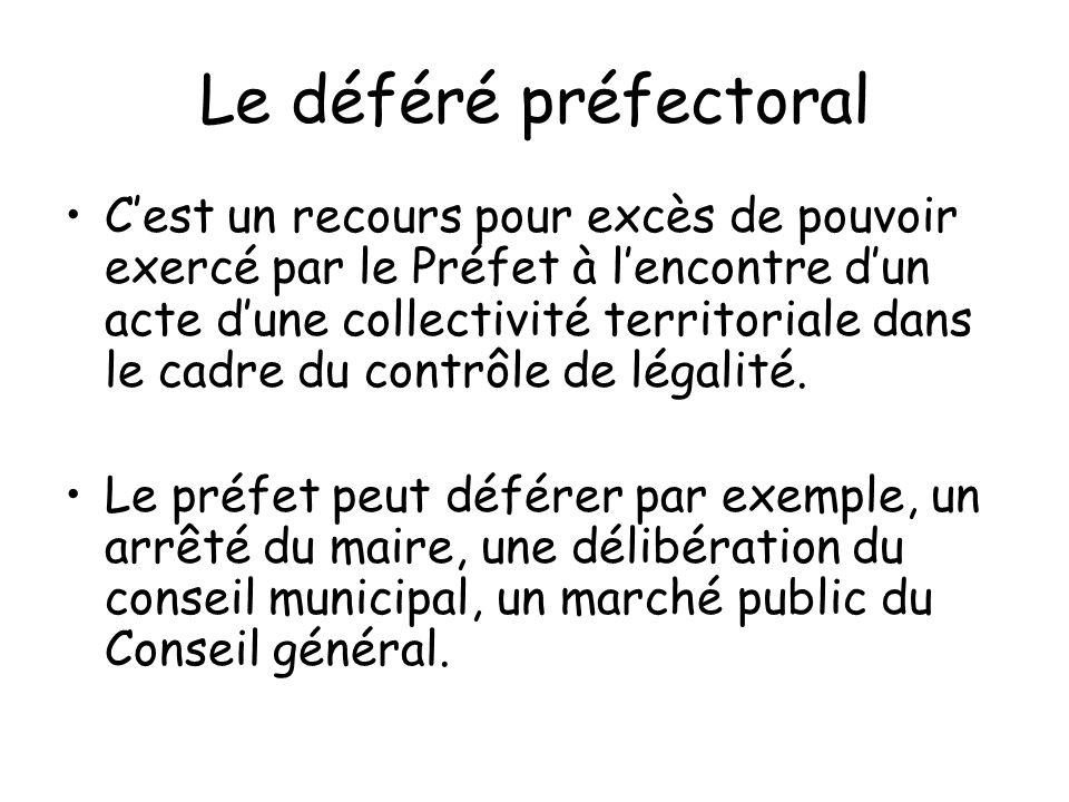 Le déféré préfectoral Cest un recours pour excès de pouvoir exercé par le Préfet à lencontre dun acte dune collectivité territoriale dans le cadre du