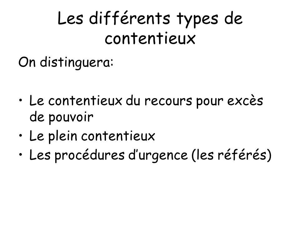 Les différents types de contentieux On distinguera: Le contentieux du recours pour excès de pouvoir Le plein contentieux Les procédures durgence (les