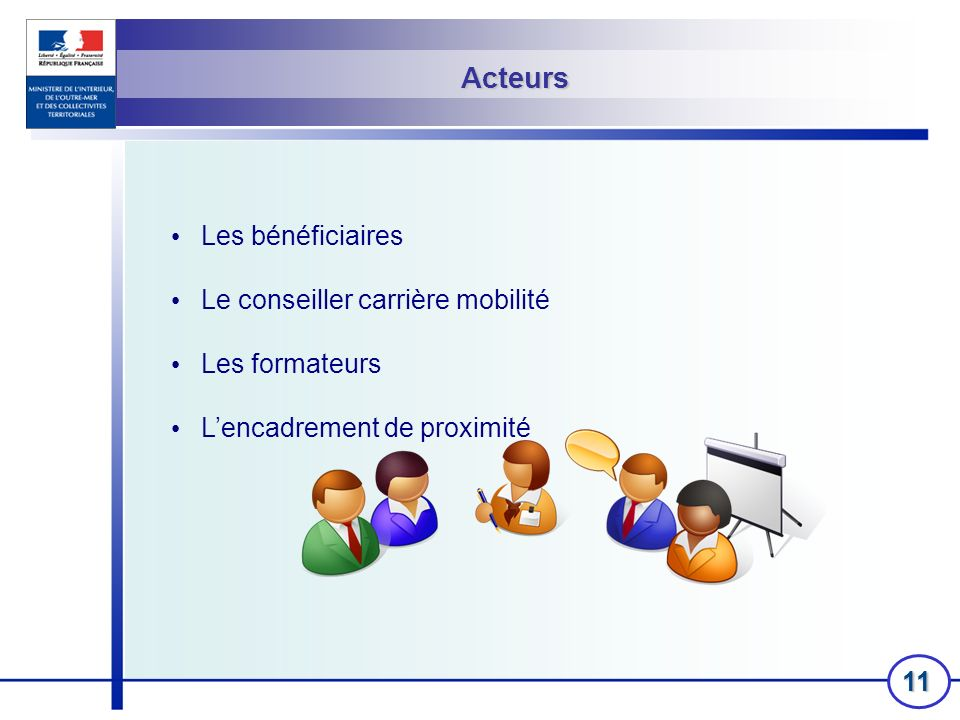 11 Acteurs Les bénéficiaires Le conseiller carrière mobilité Les formateurs Lencadrement de proximité