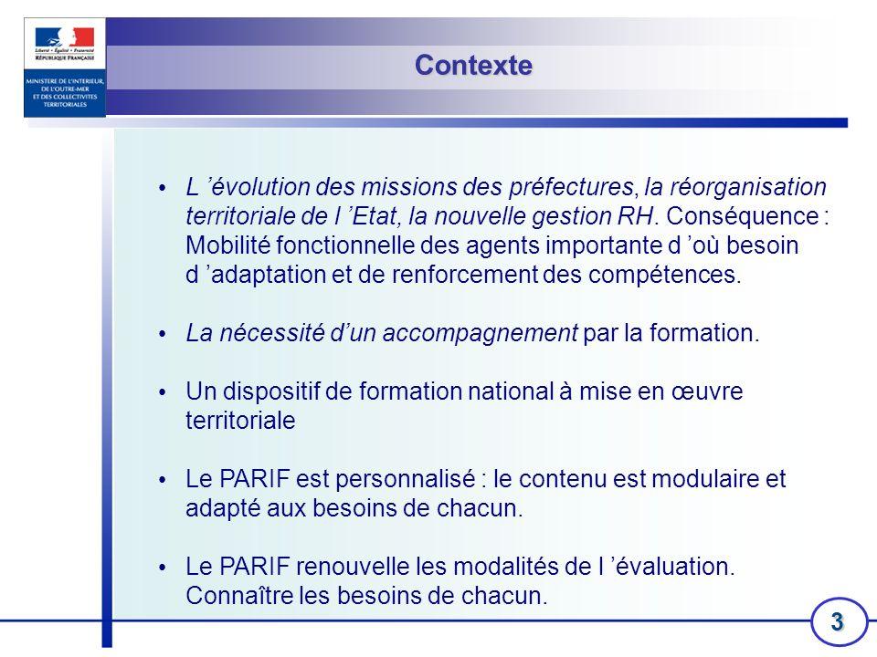 3 Contexte L évolution des missions des préfectures, la réorganisation territoriale de l Etat, la nouvelle gestion RH. Conséquence : Mobilité fonction