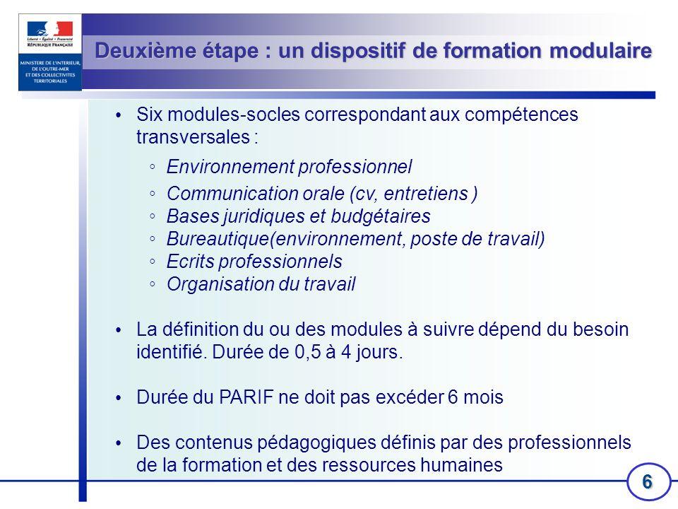 6 Deuxième étape : un dispositif de formation modulaire Six modules-socles correspondant aux compétences transversales : Environnement professionnel C