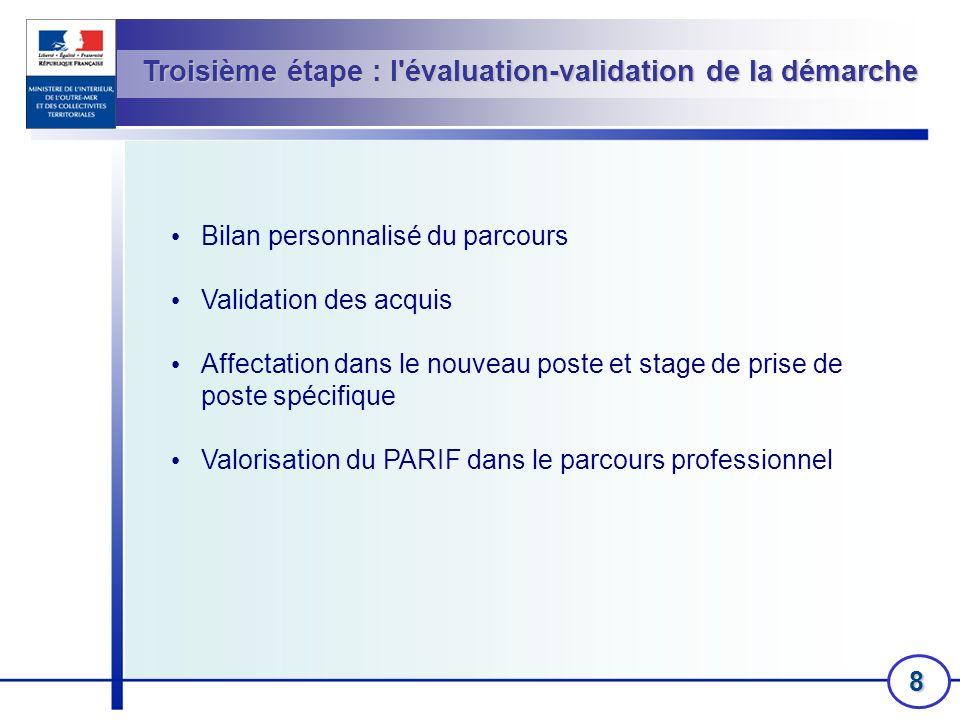 8 Troisième étape : l'évaluation-validation de la démarche Bilan personnalisé du parcours Validation des acquis Affectation dans le nouveau poste et s