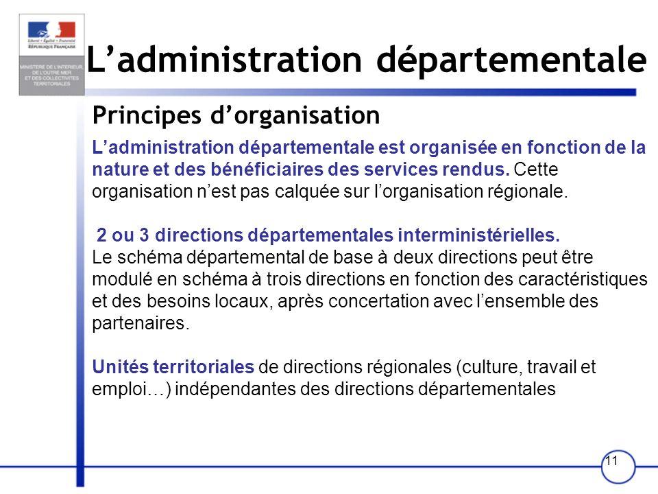 11 Ladministration départementale Principes dorganisation Ladministration départementale est organisée en fonction de la nature et des bénéficiaires d