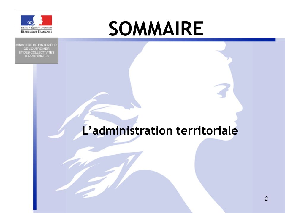 2 Ladministration territoriale SOMMAIRE