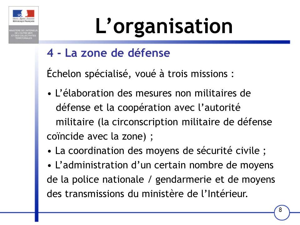 8 Lorganisation 4 - La zone de défense Échelon spécialisé, voué à trois missions : Lélaboration des mesures non militaires de défense et la coopératio