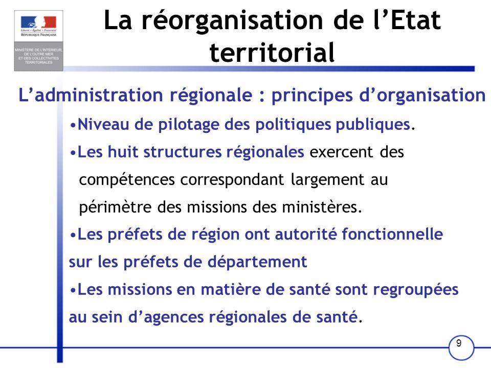 9 La réorganisation de lEtat territorial Ladministration régionale : principes dorganisation Niveau de pilotage des politiques publiques. Les huit str