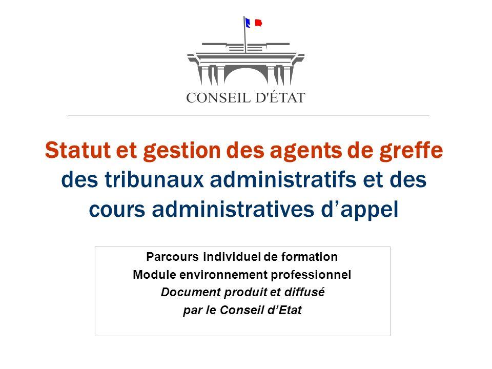 Statut et gestion des agents de greffe des tribunaux administratifs et des cours administratives dappel Parcours individuel de formation Module enviro