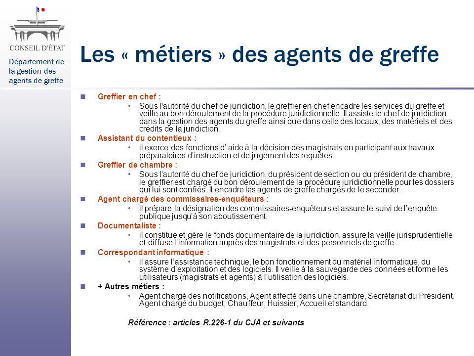 Département de la gestion des agents de greffe Les « métiers » des agents de greffe Greffier en chef : Sous l'autorité du chef de juridiction, le gref