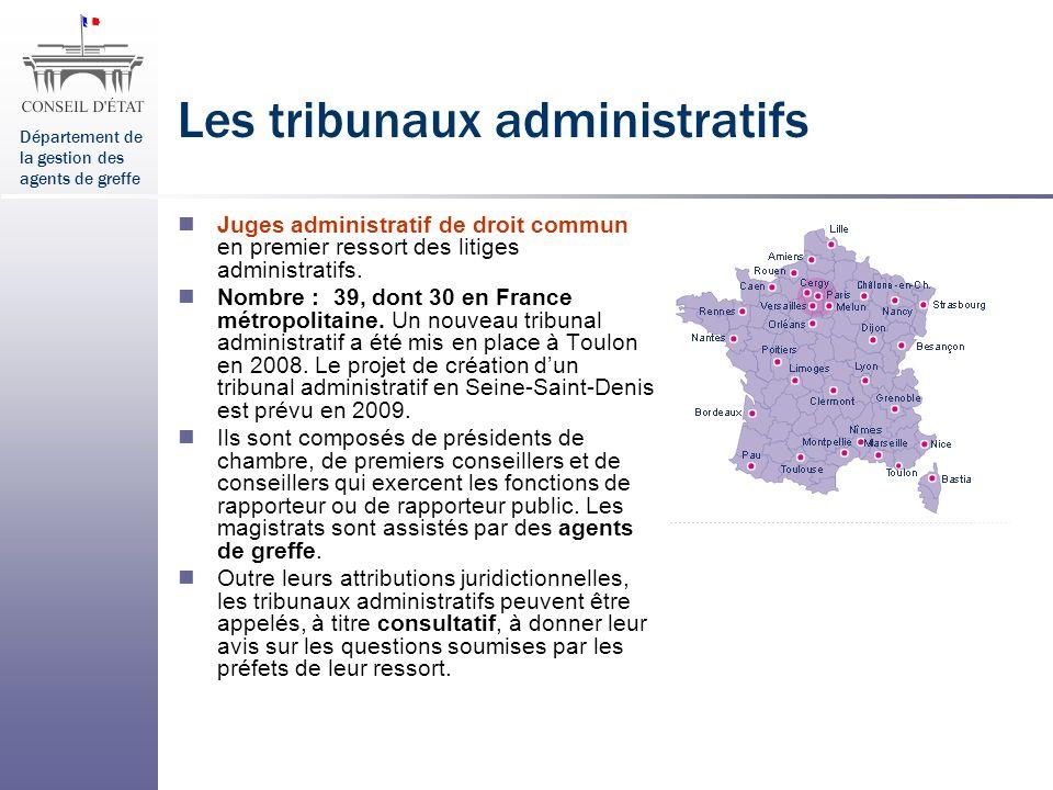 Département de la gestion des agents de greffe Les tribunaux administratifs Juges administratif de droit commun en premier ressort des litiges adminis