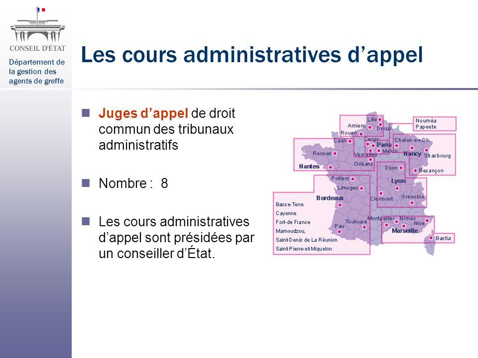 Département de la gestion des agents de greffe Les cours administratives dappel Juges dappel de droit commun des tribunaux administratifs Nombre : 8 L