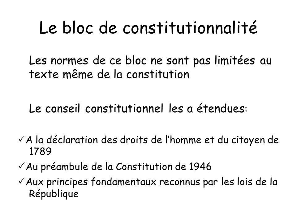 Le bloc de constitutionnalité Les normes de ce bloc ne sont pas limitées au texte même de la constitution Le conseil constitutionnel les a étendues :