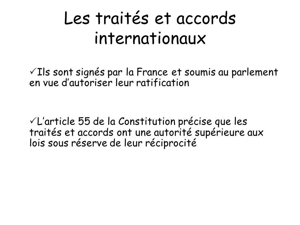 Les traités et accords internationaux Ils sont signés par la France et soumis au parlement en vue dautoriser leur ratification Larticle 55 de la Const