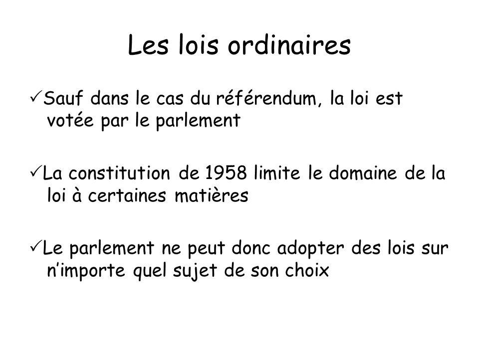 Les lois ordinaires Sauf dans le cas du référendum, la loi est votée par le parlement La constitution de 1958 limite le domaine de la loi à certaines